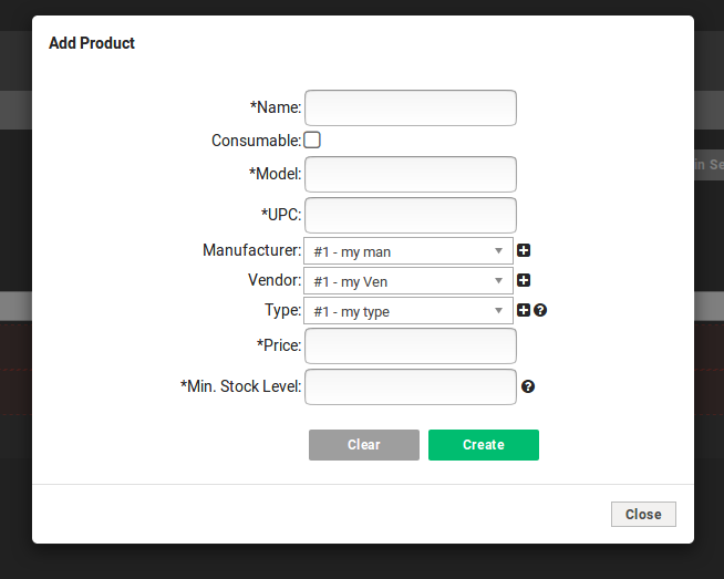 Fields include Name, a checkbox marking the product type as consumable, model, UPC, manufacturer, Vendor Type, Price and Minimum Stock Level.